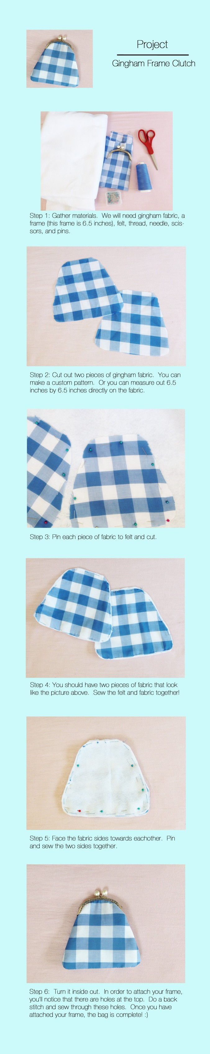 Gingham Frame Clutch
