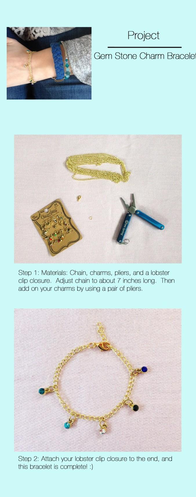 Gem Stone Charm Bracelet