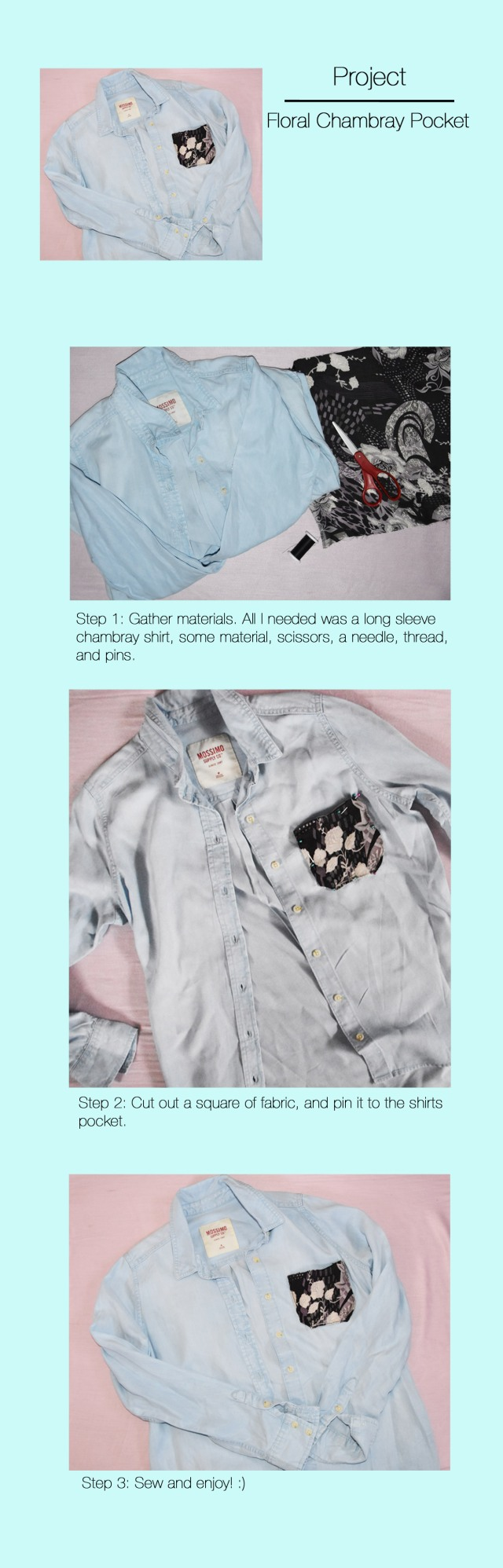 Floral Chambray pocket